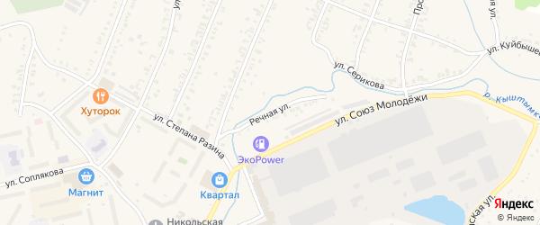 Речная улица на карте Кыштыма с номерами домов
