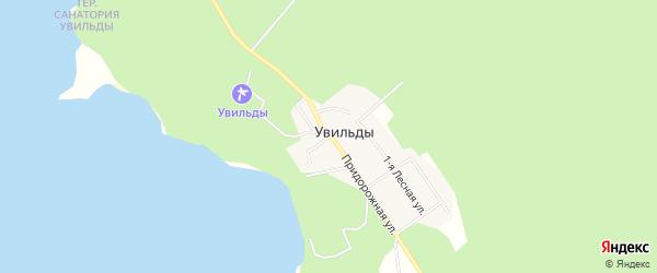 Карта поселка Увильды в Челябинской области с улицами и номерами домов