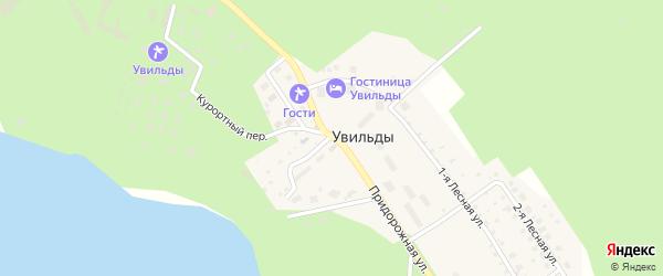 Солнечный переулок на карте поселка Увильды с номерами домов