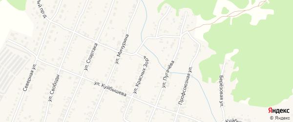 Улица Красных Зорь на карте Кыштыма с номерами домов