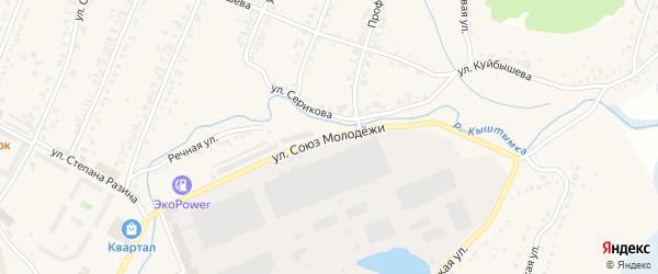 Улица Союз Молодежи на карте Кыштыма с номерами домов