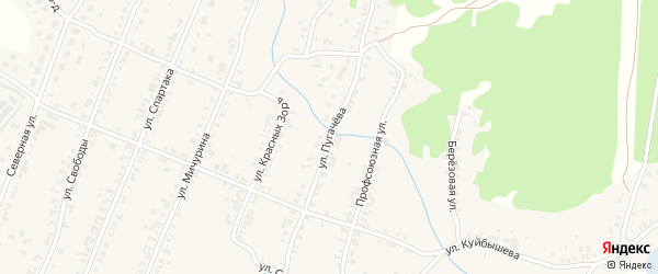 Улица Пугачева на карте Кыштыма с номерами домов
