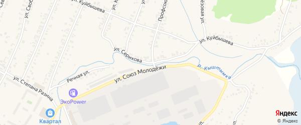 Улица Серикова на карте Кыштыма с номерами домов