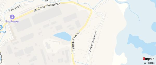 Зеленая 1-я улица на карте Кыштыма с номерами домов