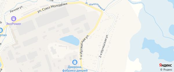 Иртяшская 1-я улица на карте Кыштыма с номерами домов
