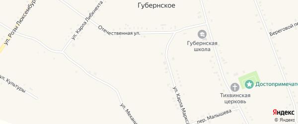 Переулок Малышева на карте Губернского села с номерами домов
