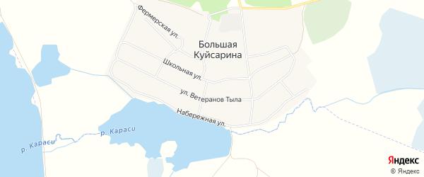 Карта деревни Большая Куйсарина в Челябинской области с улицами и номерами домов