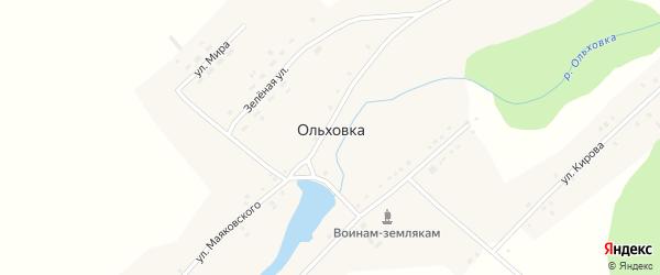 Зеленая улица на карте поселка Ольховки с номерами домов