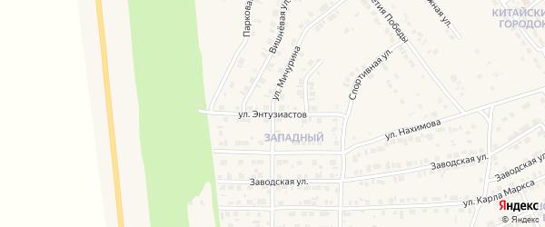 Улица Энтузиастов на карте Карталы с номерами домов