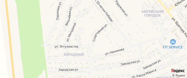 Спортивная улица на карте Карталы с номерами домов