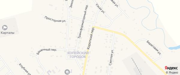 Короткий переулок на карте Карталы с номерами домов