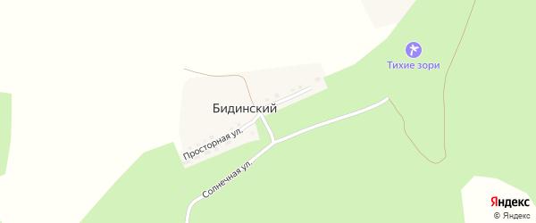 Солнечная улица на карте Бидинского поселка с номерами домов