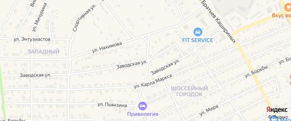 Заводская улица на карте Карталы с номерами домов
