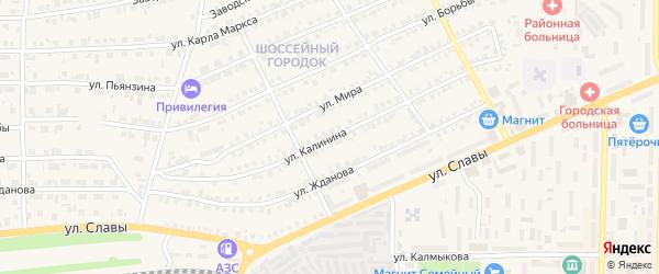Улица Калинина на карте Карталы с номерами домов