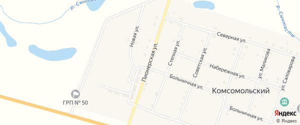 Пионерская улица на карте Комсомольского поселка с номерами домов