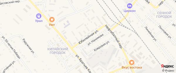 Юбилейная улица на карте Карталы с номерами домов
