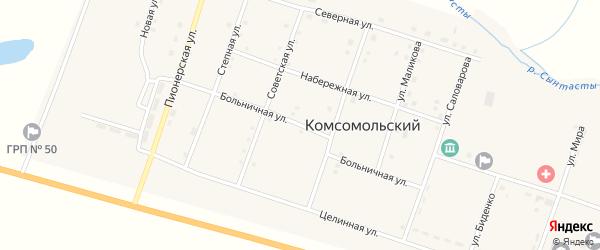 Больничная улица на карте Комсомольского поселка с номерами домов