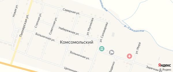 Улица Маликова на карте Комсомольского поселка с номерами домов