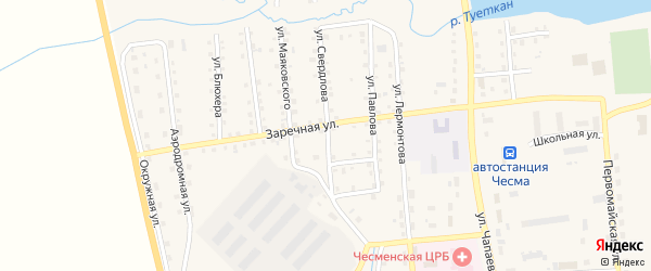 Улица Свердлова на карте села Чесмы с номерами домов