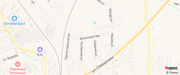 Болотный переулок на карте Карталы с номерами домов
