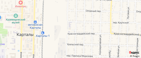 Заводской переулок на карте Карталы с номерами домов