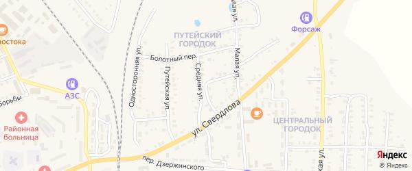Средняя улица на карте Карталы с номерами домов