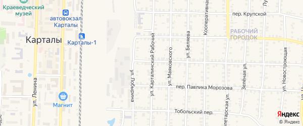 Улица Карталинский рабочий на карте Карталы с номерами домов