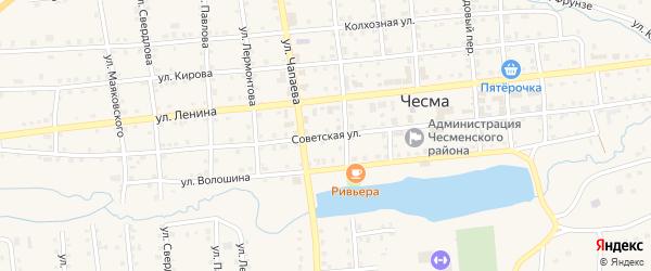 Советская улица на карте села Чесмы с номерами домов