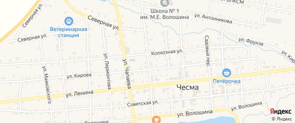 Октябрьский переулок на карте села Чесмы с номерами домов