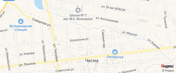 Центральный переулок на карте села Чесмы с номерами домов