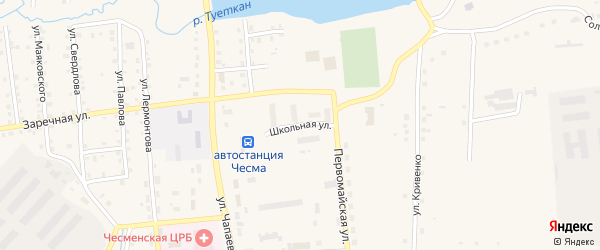 Школьная улица на карте села Чесмы с номерами домов