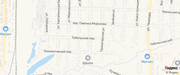 Тобольский переулок на карте Карталы с номерами домов