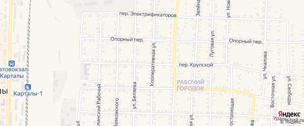 Кооперативная улица на карте Карталы с номерами домов