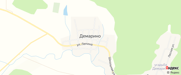 Карта села Демарино (центральной усадьба) в Челябинской области с улицами и номерами домов