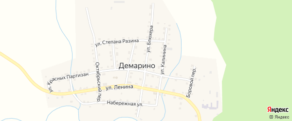 Улица Блюхера на карте села Демарино с номерами домов