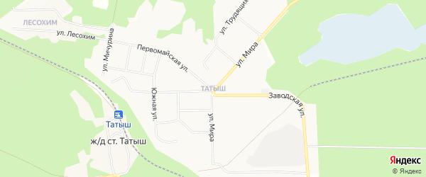 Карта поселка Татыша города Озерска в Челябинской области с улицами и номерами домов