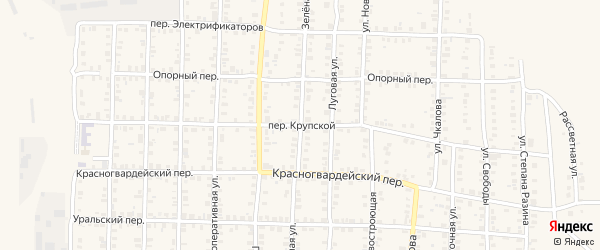 Крупской переулок на карте Карталы с номерами домов