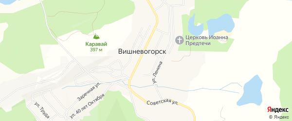 Карта поселка Вишневогорска в Челябинской области с улицами и номерами домов