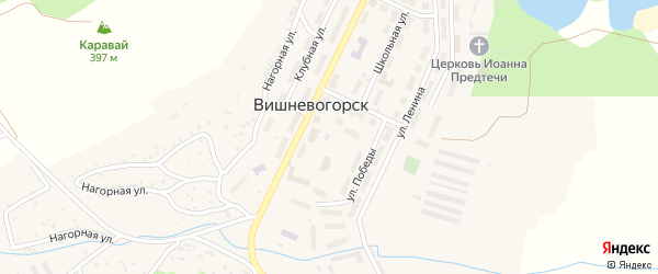 Нагорная улица на карте поселка Вишневогорска с номерами домов