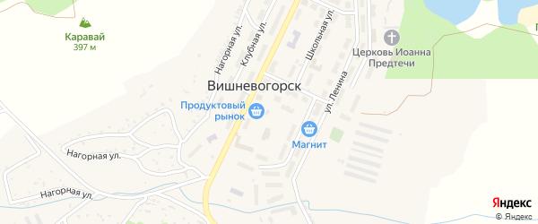 Территория ГСК 9 на карте поселка Вишневогорска с номерами домов