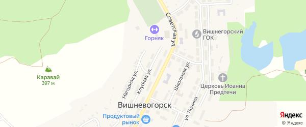 Клубная улица на карте поселка Вишневогорска с номерами домов