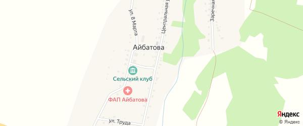 Солнечная улица на карте деревни Айбатова с номерами домов
