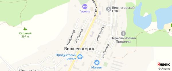 Советская улица на карте поселка Вишневогорска с номерами домов