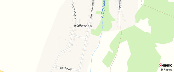 Центральная улица на карте деревни Айбатова с номерами домов