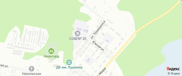 Улица Трудящихся на карте Челябинска с номерами домов