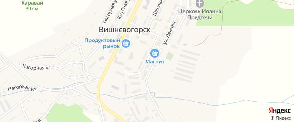 Улица Победы на карте поселка Вишневогорска с номерами домов