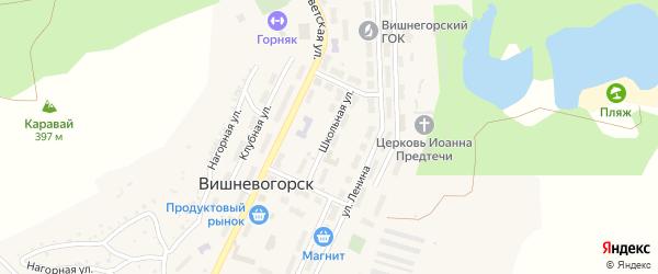 Школьная улица на карте поселка Вишневогорска с номерами домов