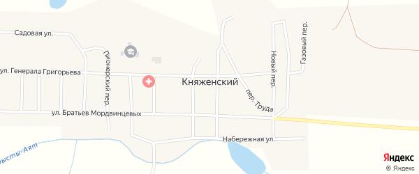 Переулок Строителей на карте Княженского поселка с номерами домов