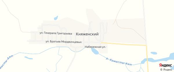 Карта Княженского поселка в Челябинской области с улицами и номерами домов