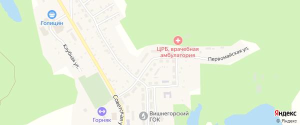 Первомайская улица на карте поселка Вишневогорска с номерами домов